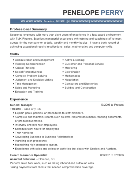 General Manager resume example South Carolina