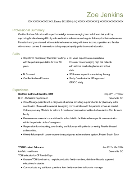 Certified Asthma Educator resume example South Carolina