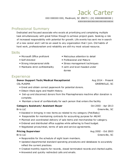 Donor Support Tech resume example South Carolina