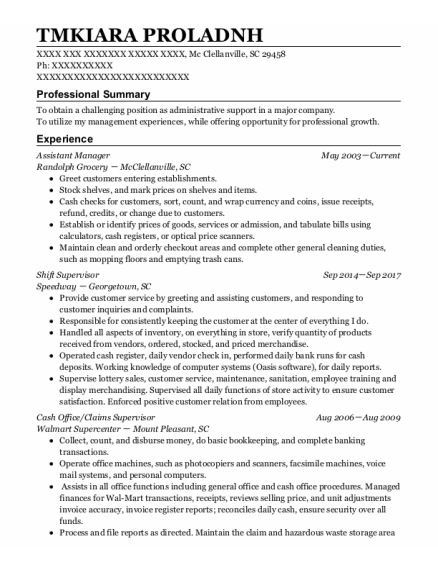 Assistant Manager resume template South Carolina