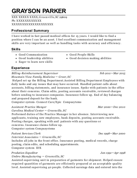 Billing Reimbursement Supervisor resume template South Carolina