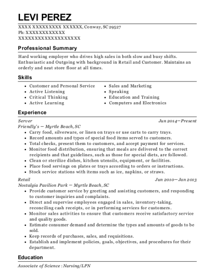 Server resume template South Carolina