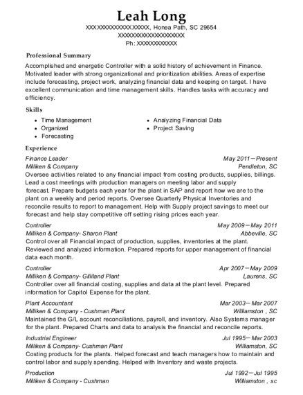 Finance Leader resume format South Carolina