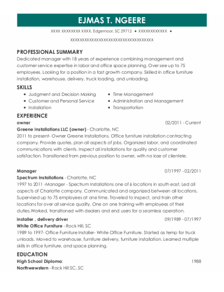 Owner resume sample South Carolina