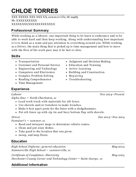Laborer resume template South Carolina