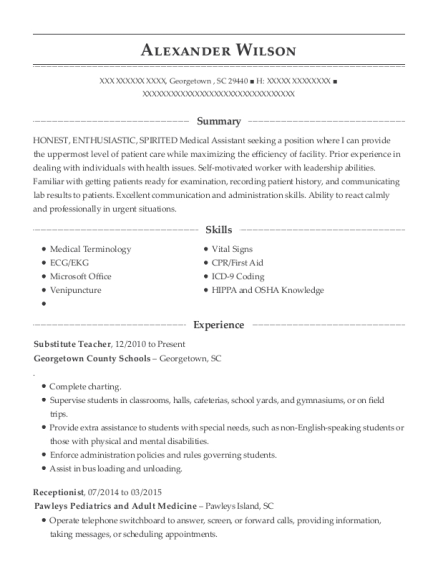 Substitute Teacher resume format South Carolina