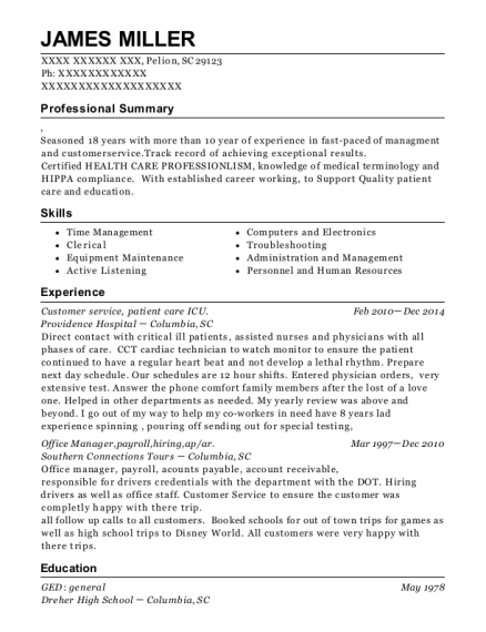 Customer service resume sample South Carolina