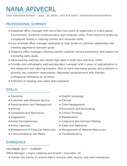 Office Manager resume template South Carolina