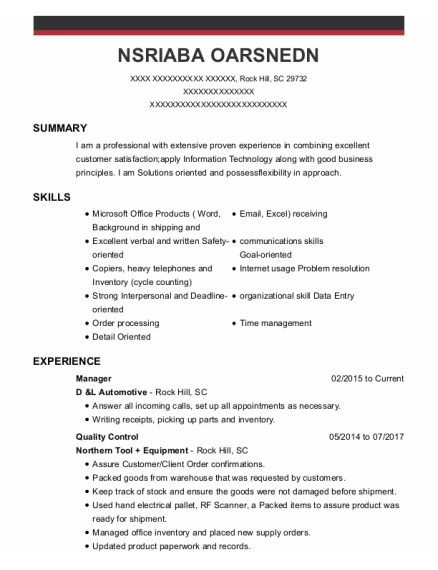 Manager resume format South Carolina