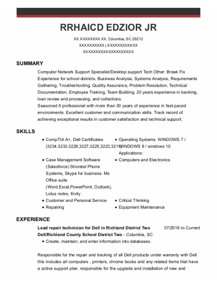 Branch Manager resume template South Carolina