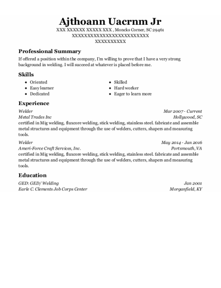 welder resume template South Carolina