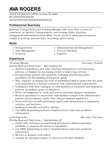 Terminal Manger resume format South Carolina