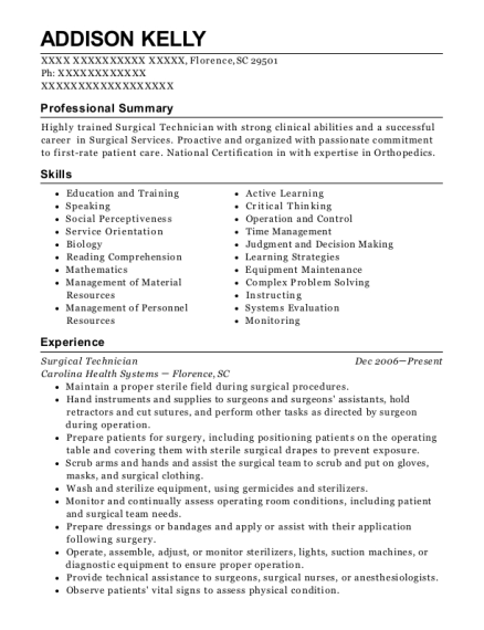 Surgical Technician resume template South Carolina