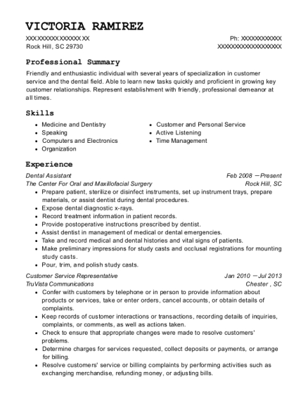 Dental Assistant resume example South Carolina