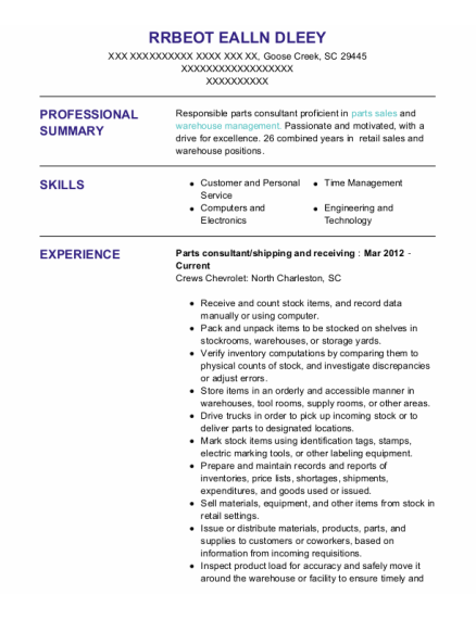 Parts Consultant resume sample South Carolina
