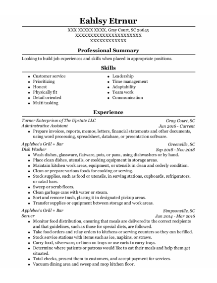 Adminstrative Assistant resume sample South Carolina