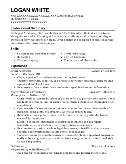 Retail Assembler resume template South Dakota