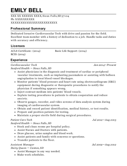 Cardiovascular Tech resume sample South Dakota