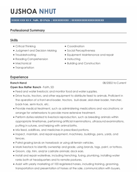 Ranch Hand resume sample South Dakota
