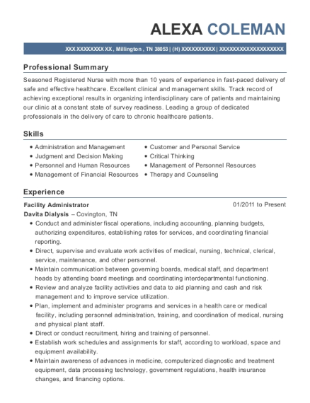 Facility Administrator resume format Tennessee