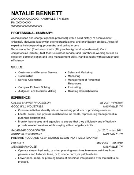 ONLINE SHIPPER PROCESSOR resume sample Tennessee