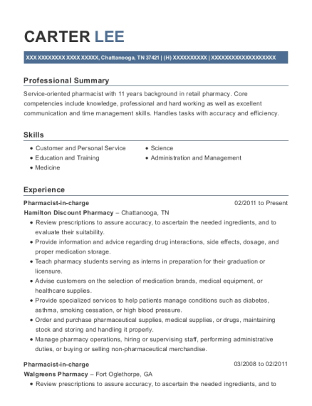 Pharmacist in charge resume example Tennessee