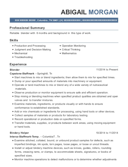 Blender resume example Tennessee