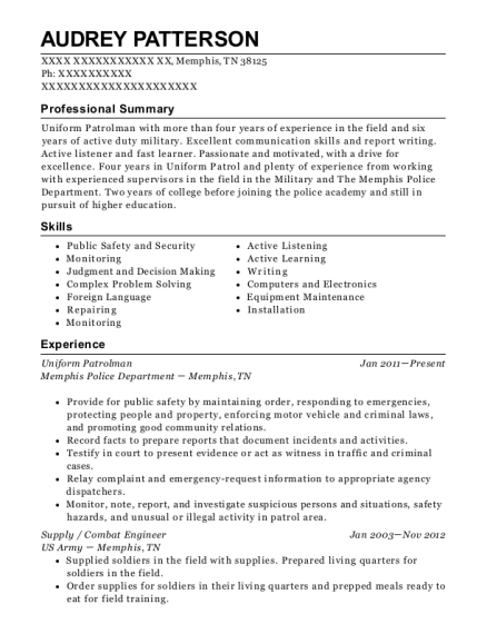 Uniform Patrolman resume example Tennessee