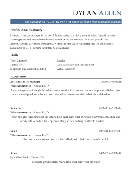 Assistant Sales Manager resume format Tennessee