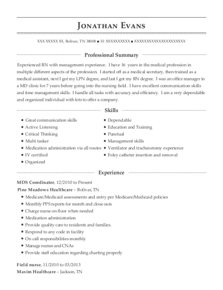 MDS Coordinator resume template Tennessee