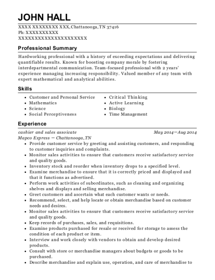 cashier and sales assoicate resume sample Tennessee