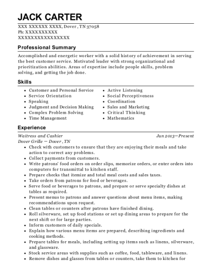 Waitress and Cashier resume sample Tennessee