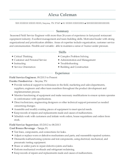 Field Service Engineer resume template Tennessee