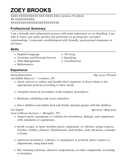 Incredible Pizza Co Party Entertainer Resume Sample Cordova