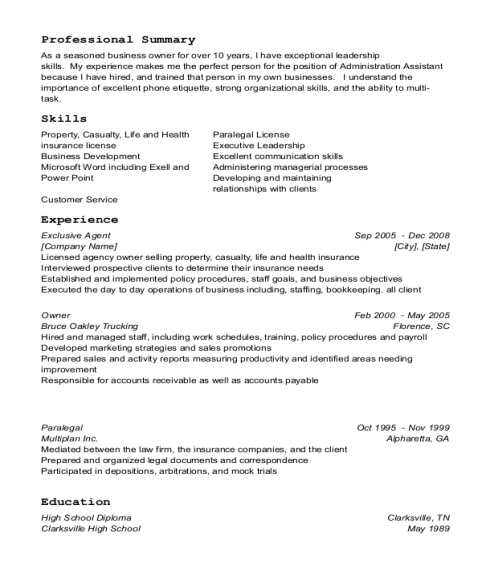 Exclusive Agent resume sample Tennessee