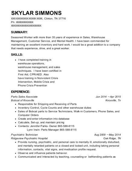 Parts Sales Associate resume template Tennessee