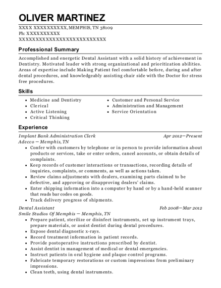 Implant Bank Administration Clerk resume example Tennessee