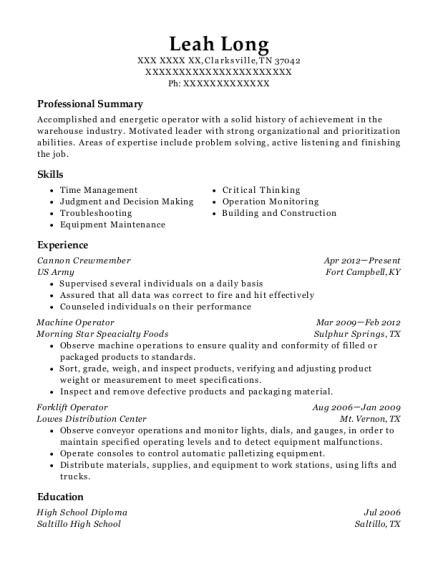 Cannon Crewmember resume sample Tennessee