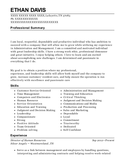 Director of Human Resources resume example Tennessee