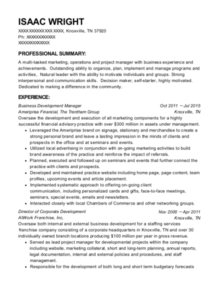 Business Development Manager resume template Tennessee