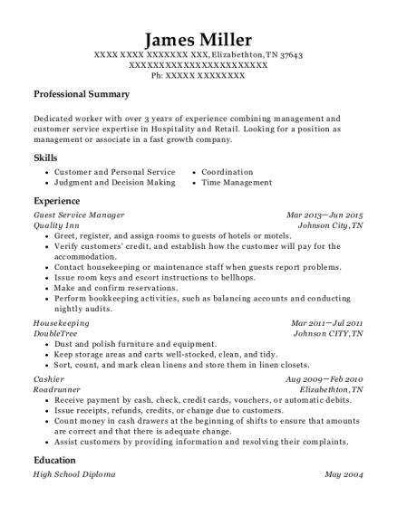 Guest Service Manager resume format Tennessee