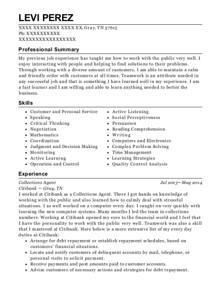 Collections Agent resume example Tennessee