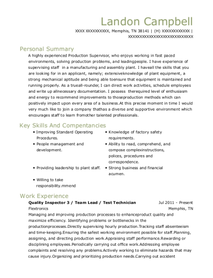 Quality Inspector 3 resume sample Tennessee