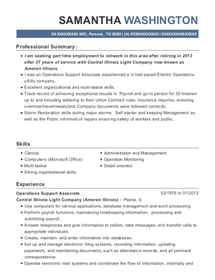 Operations Support Associate resume format Tennessee