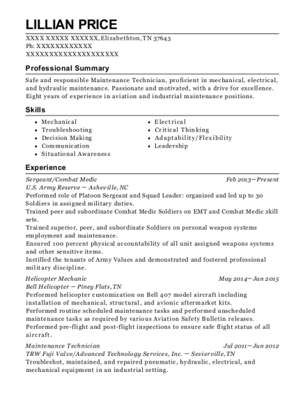 Sergeant resume sample Tennessee