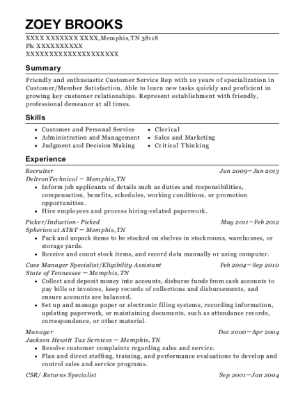 Recruiter resume format Tennessee