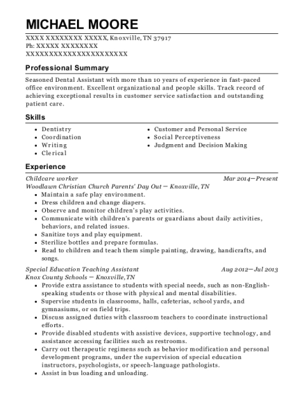 Childcare worker resume sample Tennessee