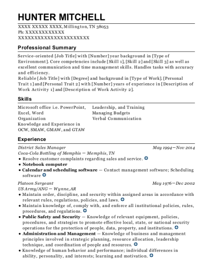 District Sales Manager resume sample Tennessee