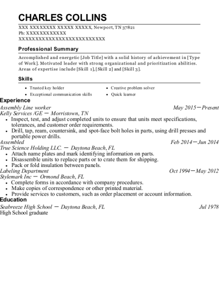 Assembly Line Worker resume sample Tennessee