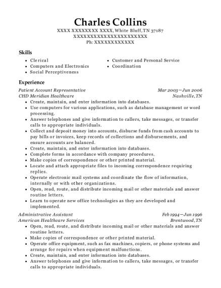 Patient Account Representative resume format Tennessee